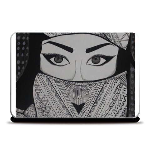 The Girl in Veil Laptop Skins | Artist : Pranita Bajoria