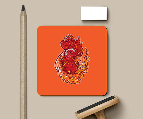 Rooster on fire Coasters | Artist : Inderpreet Singh