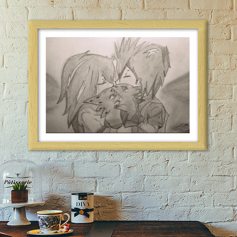 Train your Dragon Kiss Hiccup Toothless Premium Italian Wooden Frames | Artist : DIVYA SHUKLA