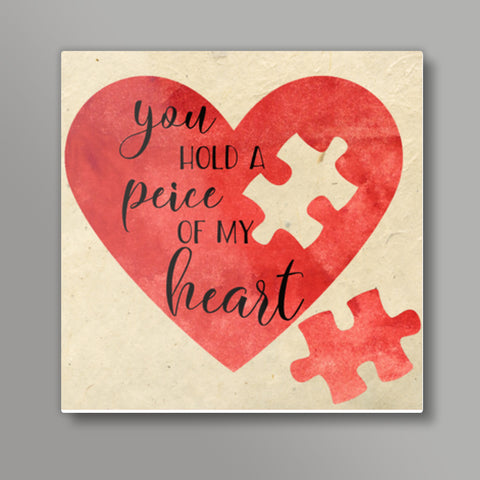 Peice of heart Square Metal Prints | Artist : Not Just Doodle