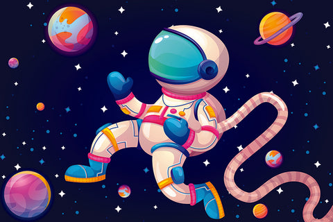 Astronaut Colorful Galaxy Artwork