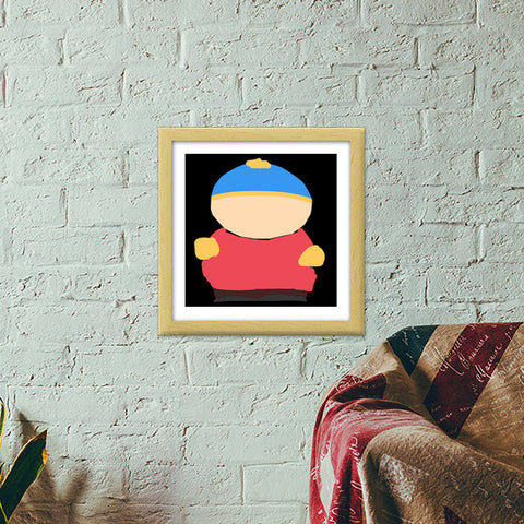 Eric Cartman South Park Minimal Sketch Doodle Artwork (Childhood/Cartoon) Premium Square Italian Wooden Frames | Artist : Looks Good = Feels Good