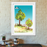 Adventure Awaits Quote Inspiration Landscape Painting Premium Italian Wooden Frames | Artist : Seema Hooda