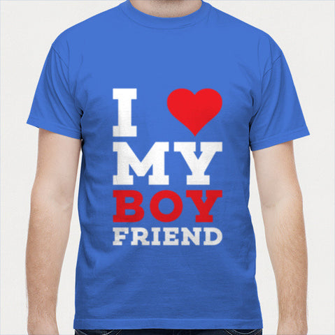 I love my boy friend white with red typography Men T Shirts | Artist : Designerchennai