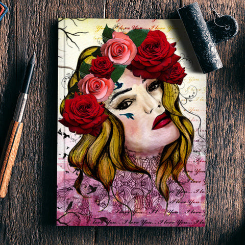 Floral girl (mixed media portrait) Notebook | Artist : Shweta sharma