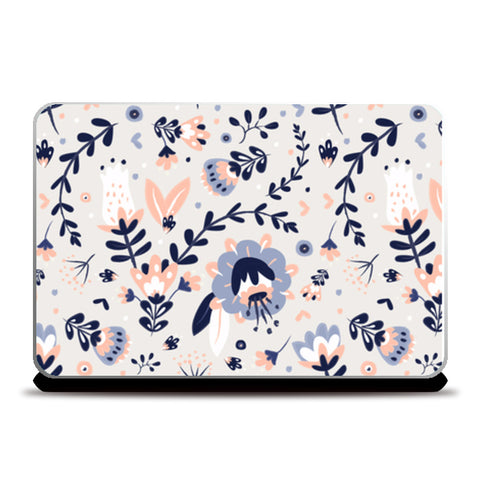 Cute hand drawn leaves and flowers pattern Laptop Skins | Artist : Creative DJ