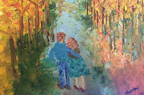 With You | Palette Knife Painting | Wall Art  | Artist : Nandini Rawat
