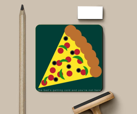 Heart Wants Pizza Coasters | Artist : Aishwarya Tandon