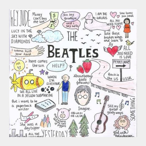 Square Art Prints, The Beatles coloured poster Square Art Prints | Artist : Anjali Nilakantan, - PosterGully