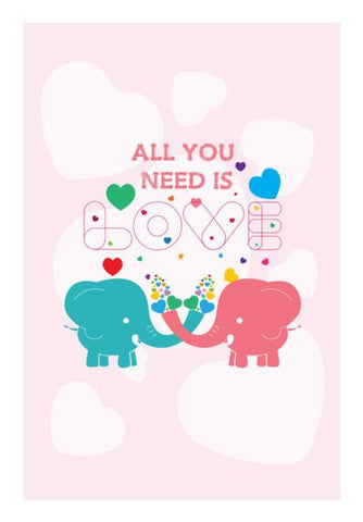 PosterGully Specials, All you need is love with elephant Wall Art | Artist : Designerchennai, - PosterGully