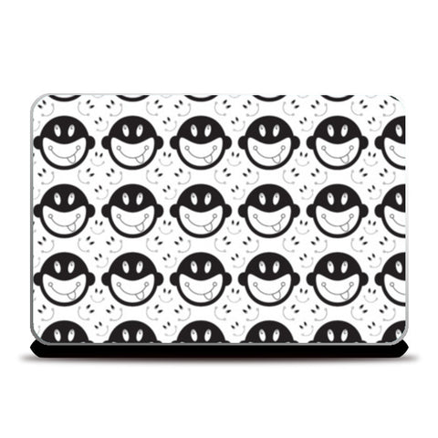 Monkey tongue out on black and white Laptop Skins | Artist : Designerchennai