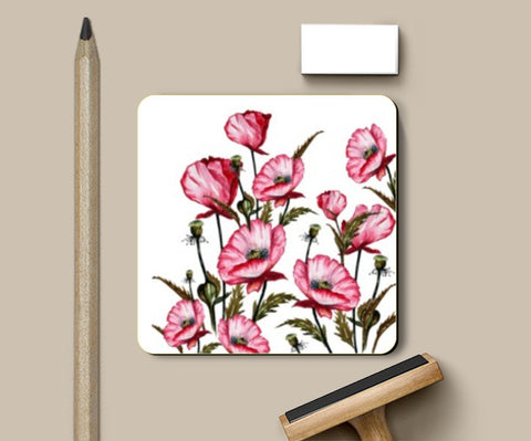 Coasters, Painted Pink Poppies Floral Art Coasters | Artist : Singhroha Art, - PosterGully