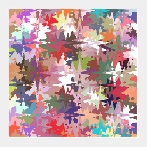 Colorful Chaos Abstract Modern Art Background Pattern  Square Art Prints | Artist : Seema Hooda