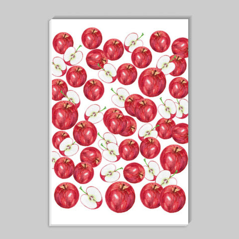 Red Apples Watercolor Fruit Pattern Kitchen Food Art  Stick Ons | Artist : Seema Hooda