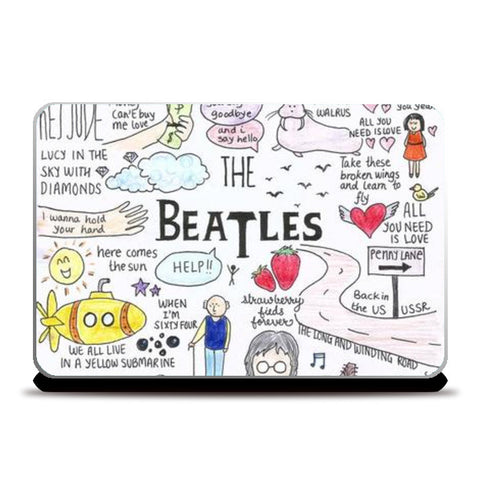 Laptop Skins, Beatles coloured doodle Laptop Skins | Artist : Anjali Nilakantan, - PosterGully