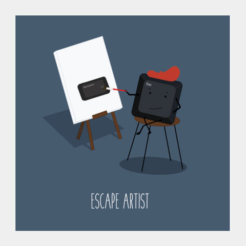 Escape Artist Pun  Square Art Prints | Artist : Ashritha Rao