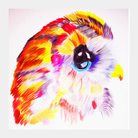 Colorful owl Square Art Prints | Artist : Smartbugg Arts