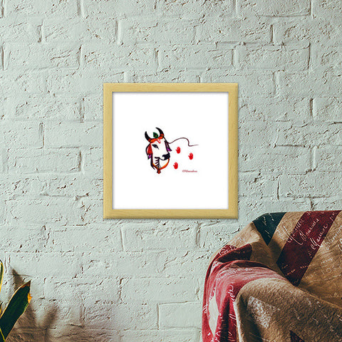 Gaiya | The adorable Indian Cow Premium Square Italian Wooden Frames | Artist : Miraculous