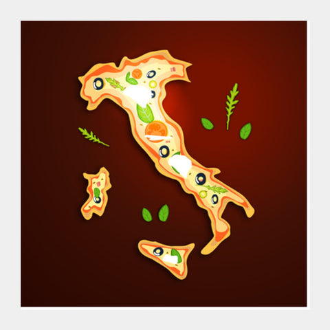 Square Art Prints, Food Maps - Italy Square Art Prints | Artist : Ashley Abraham, - PosterGully