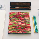 Abstract Pink Green Zig Zag Waves Pattern Notebook | Artist : Seema Hooda