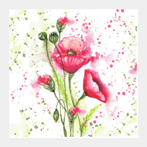 Beautiful Watercolor Pink Poppy Flowers Painting Modern Floral  Square Art Prints PosterGully Specials