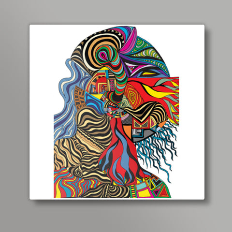 Psychedelic mania! Square Metal Prints | Artist : Jessica Maria