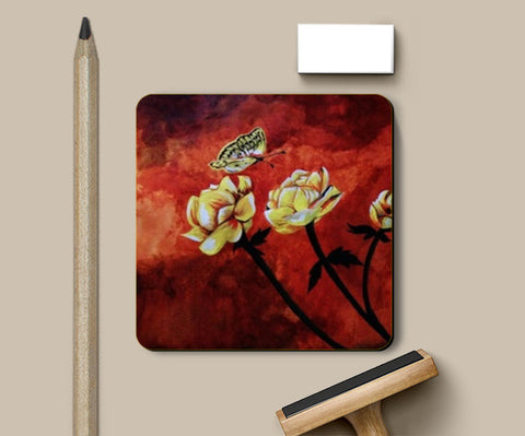 Butterfly and flowers painting Coasters | Artist : Pallavi Rawal