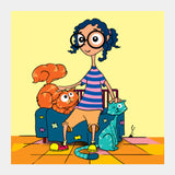 cat gal Square Art Prints | Artist : Juergen Dsouza