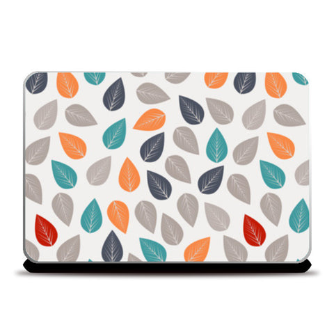 Seamless pattern with multicolored leaf on light background Laptop Skins | Artist : Designerchennai