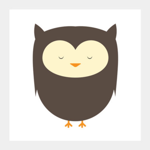 Cute Brown Owl Square Art Prints | Artist : Designerchennai