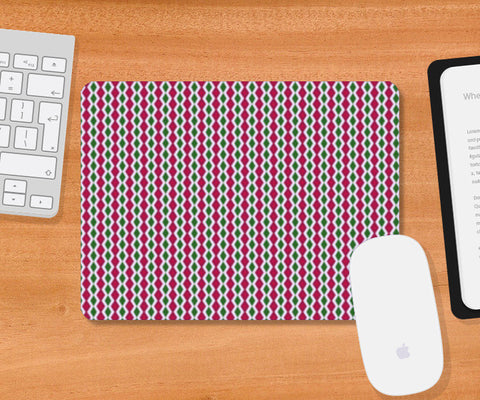 Vertical Pink And Green Diamond Striped Geometric Retro Pattern  Mousepad | Artist : Seema Hooda