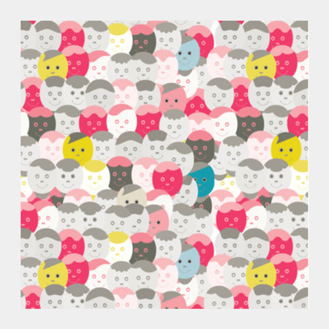 Colorful Smiley Faces Seamless Pattern Square Art Prints PosterGully Specials