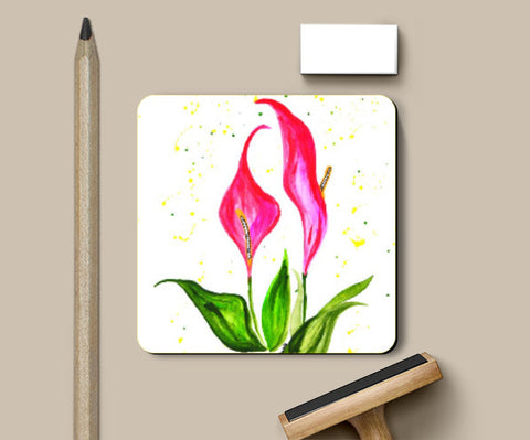 Coasters, Pink Floral Coaster | Shweta D, - PosterGully