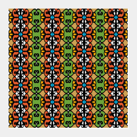 Colorful Ethnic Pattern Tribal Art Background Square Art Prints PosterGully Specials