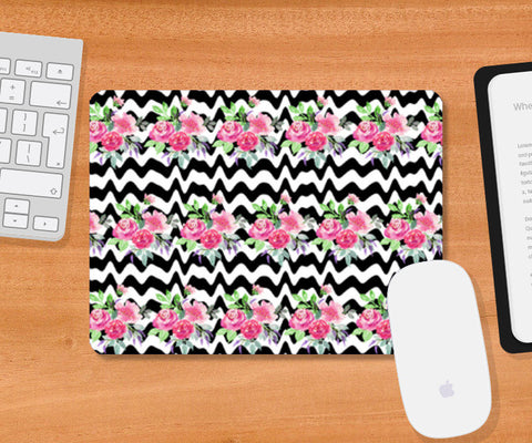 Black Stripes And Pink Flowers Floral Pattern Mousepad | Artist : Seema Hooda