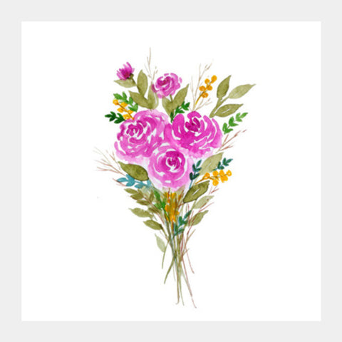 Square Art Prints, Floral Art Watercolor Bouquet Painting Square Art Prints | Artist : Seema Hooda, - PosterGully