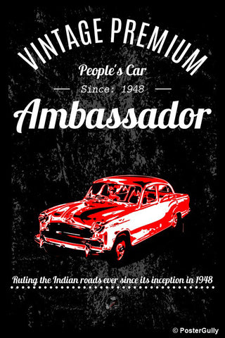 Brand New Designs, Ambassador Car Black Artwork | Artist: Devraj Baruah, - PosterGully - 1