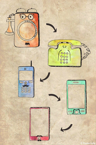 Wall Art, Phone Evolution Artwork | Artist: Simran Anand, - PosterGully - 1