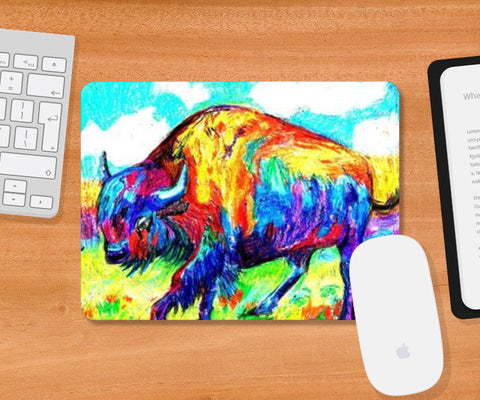 Mousepad, colourful bison- Pastels Mousepad | Artist : Papo Mukherjee, - PosterGully