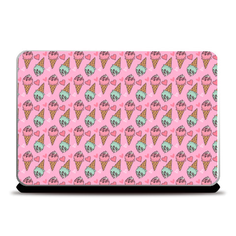 ice cream pattern pink Laptop Skins | Artist : Creative DJ
