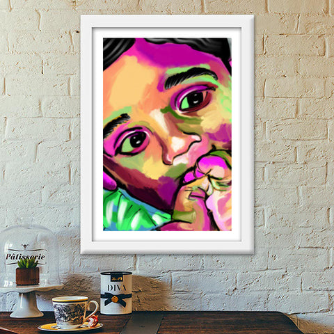 INNOCENCE #baby #kids #colorful #portrait #people #painting #sketches # Premium Italian Wooden Frames | Artist : Jessica Maria