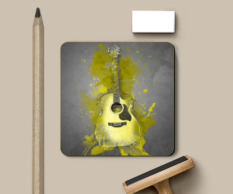 Guitar Splash – Yellow Coasters | Artist : Darshan Gajara's Artwork