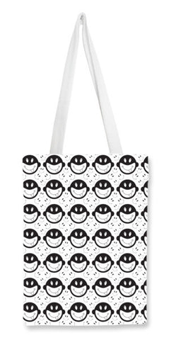 Monkey tongue out on black and white Tote Bags | Artist : Designerchennai