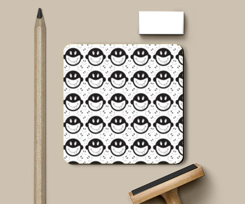 Monkey tongue out on black and white Coasters | Artist : Designerchennai
