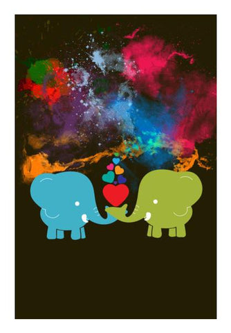 PosterGully Specials, Blue elephant and green elephant Wall Art | Artist : Designerchennai, - PosterGully