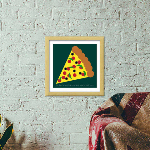 Heart Wants Pizza Premium Square Italian Wooden Frames | Artist : Aishwarya Tandon