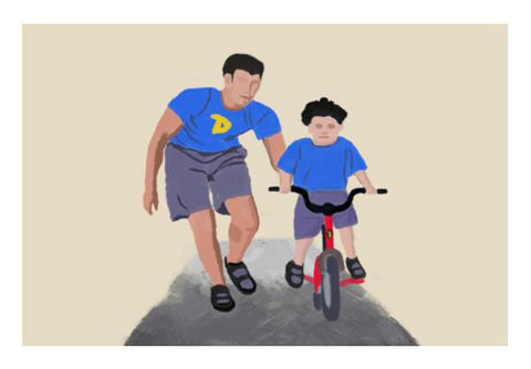 PosterGully Specials, Fatherys Day : first ride memory Wall Art  | Artist : Keshava Shukla, - PosterGully