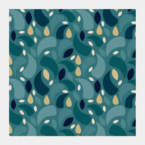 Geometric leaf  shapes seamless pattern Square Art Prints | Artist : Designerchennai