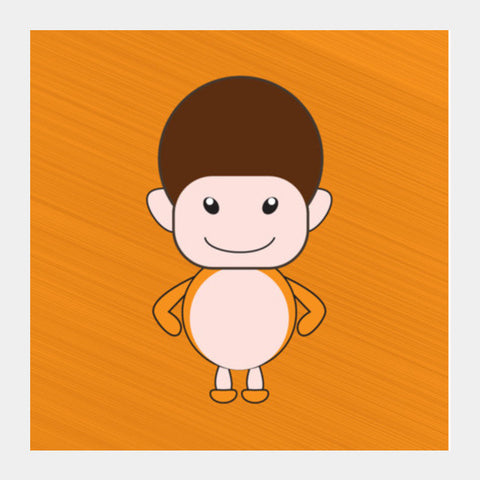 Happy Smiling Funny Cartoon Boy Square Art Prints PosterGully Specials