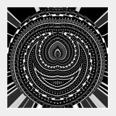 Black And White Abstract Digital Psychedelic Modern Art Square Art Prints PosterGully Specials